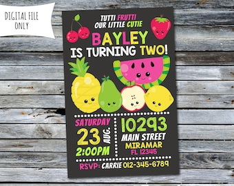 Tutti Frutti Invitation / Tutti Frutti Birthday Invitation / Fruit Invitation (Personalized) Digital Printable File