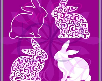 Easter Bunny SVG 1 Filigree Cross Flower Christ Name Pattern Bunny Basket Hunt Peep Chick Boy Girl Life Bow Ribbon 2018 Cricut Vinyl Decal.