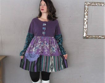 upcycled clothing Romantic purple Boho tunic dress X L wearable art tshirt dress Fun clothes Eco Gypsy Bohemian recycled LillieNoraDryGoods