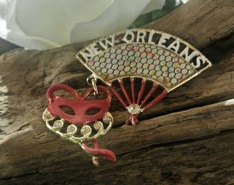 New Orleans brooch/vintage brooch/vintage jewelry/new orleans/mardi gras brooch/vintage mardi gras pin/vintage pin/mardi gras/womens brooch