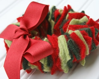 Recycled Wool Sweater Holiday Wreath Ornament