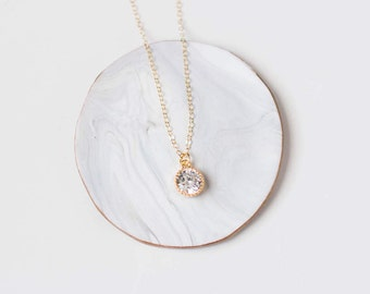 Crystal Necklace, Small Gold Necklace, Delicate Gold Necklace, Sparkly Necklace, Bridesmaid Necklace, Delicate Layered Necklace,Wedding
