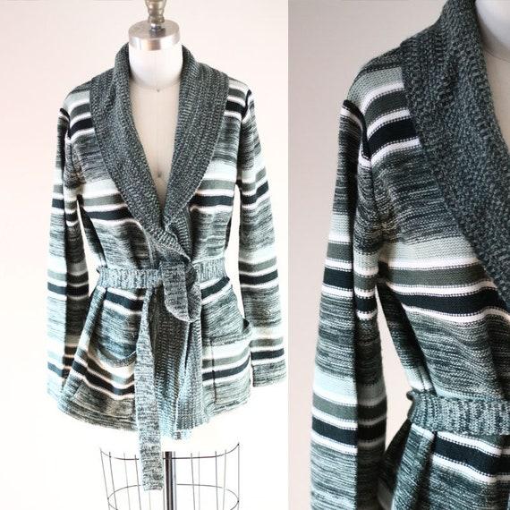 1970s bell sleeve cardigan // 1970s green stripe sweater // vintage sweater