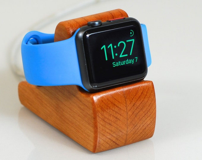 Apple Watch Dock  - The RIPPLE in Cherry - Hides the cable - Perfect for Nightstand Mode.