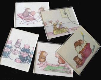 Refrigerator Magnets - House Mouse - Original Art by Ellen Jareckie - Lot Of Five Magnets - Kitchen Decor