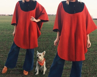 Vintage 1970's Mod Red & Black WOOL Toggle Boho Poncho Cape    One Size    Size Small Medium Large