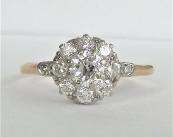 Two Tone Diamond Cluster Ring .94 CTW - 18K Gold and Platinum - VVS2 Center Diamond - Stunning Antique Piece! G.G. Appraisal 2,290 Usd!