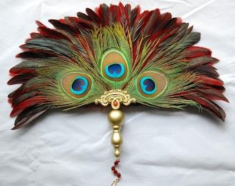 Renaissance Peacock Feather Fan, Medieval Feather Fan, Victorian Fan, Elizabethan Feather Fan, Tudor Fan for Faire Cosplay SCA