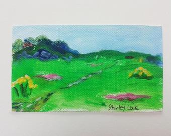 Landscape mini original art, tiny landscape 2 1/4 x 4 inches, original art mini gift, hostess art gift, happy gift, tiny art
