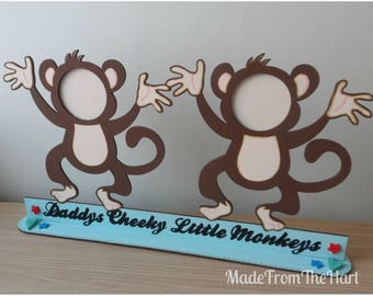 Father's Day Daddy's Cheeky Monkeys Freestanding Photo Frame