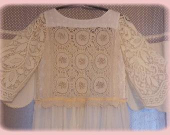 shabby chic dress, lace vintage Bohemian, cotton voile lace, buttons beads