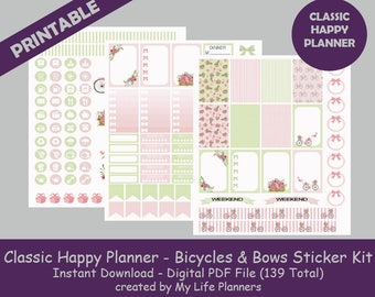 Bicycles & Bows CLASSIC Happy Planner Printable Stickers, Weekly Kit, Planner Kit, Printable Stickers, CLASSIC Happy Planner, PDF Download