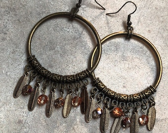Bronze Hoop Earrings with feather and boho beaded charms