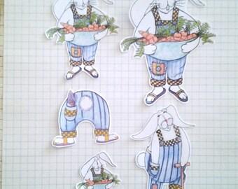 Rabbit Gardener Sticker Set, unique, hand cut, Art Stickers