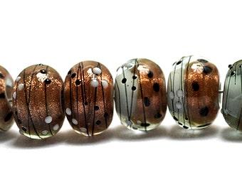 NEW! 10903241 Eight Smokey Bronze Rondelle Beads - Handmade Glass Lampwork Bead Set