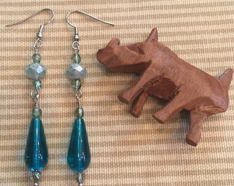 Aqua Blue and Aqua Bronze Earrings (ER - #041)