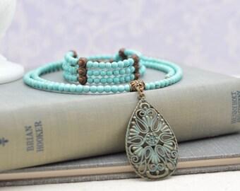 Turquoise Choker Necklace and Bracelet Set