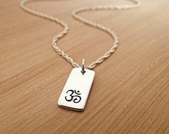 Om Necklace, Ohm Necklace, Sterling Silver Necklace, Yoga Necklace, Om Ohm Chain, Yoga Zen Jewelry, Ohm Om Charm Pendant, Buddha Buddhist