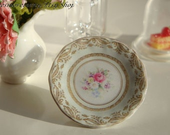 Spring Flowers Dollhouse Miniature Plate