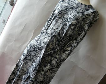 Vintage Diane Von Furstenberg Maxi Dress DVF / size 4 6 8 small / Cotton Black White Optic Print / made in Italy