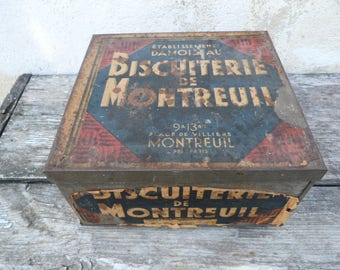 Vintage Antique 1910/1930 French Tin box / lithograph paper label Biscuiterie de Montreuil