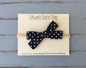 Hand tied bow, baby girl bow, baby girl headband, fabric bow headband, nylon headband, baby bow headband, infant headband