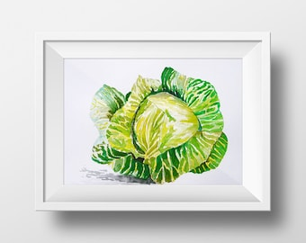Print from original watercolor. Gicleé print of a cabbage.