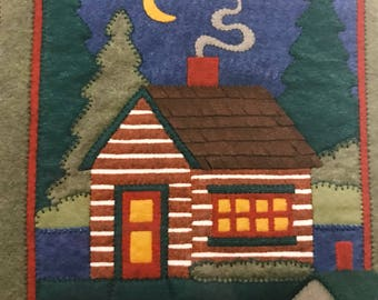 Vintage Folk Log Cabin Felt Quilt Wall Hanging Kit