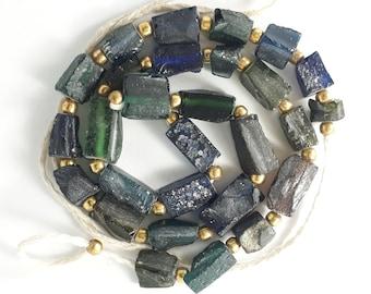 Ancient Aqua & Greenish Roman Glass Beaded Necklace,Tubular Beads Mix Colors #3
