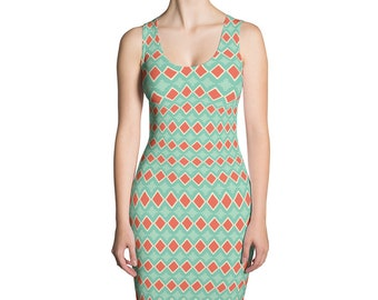 Green and Orange Geometric Dress, Abstract Stretch Dress, Diamonds