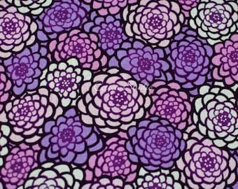 Japanese Fabric Chrysanthemum Purple by the Half Yard Japanese Modern Kimono Print Floral