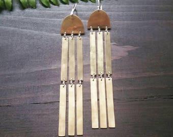 Lucendi Earrings . Brass with Sterling Silver Shoulder Duster Earrings