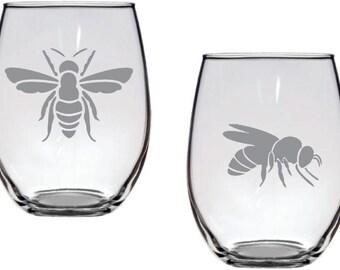 Bee Glass Set FREE Personalization