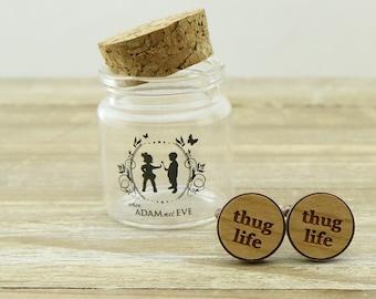 Thug Life Wood Cufflinks - groom gift idea - Wedding Cuff links - Australian seller