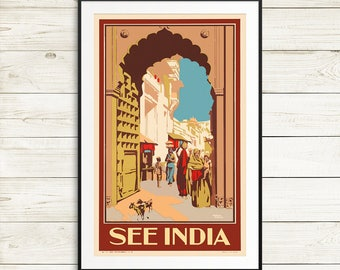 see india, travel india, vintage india travel posters, tourism poster, travel advertisement, retro travel poster, art poster reproductions