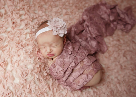 """Mauve embroidered vintage lace swaddle wrap and/or 3"""" chiffon flower headband for newborn photo shoots, bebe, foto by Lil Miss Sweet Pea"""