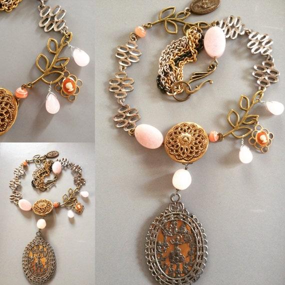 Necklace, Scapular religious Vintage Assemblage, Rose Quartz Murano Glass Cameo Brass leaves, repurposed Belt Buckle OOAK handmade
