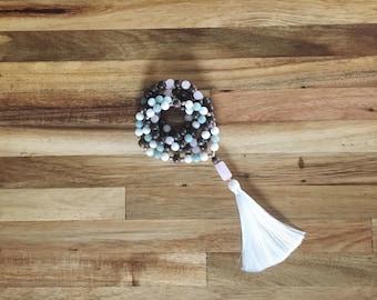 Tassel Necklace, Mala Necklace, Tassel Jewelry, Women's Tassel Necklace, Rose Quartz Mala, White Onyx Mala, Wood Mala