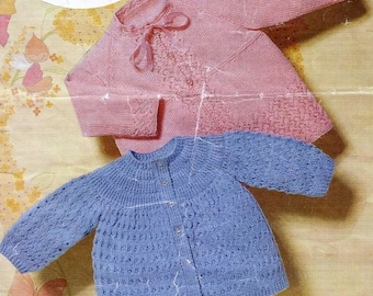 Baby Knitting PATTERN -  Baby Jackets/Sweaters/Cardigans 18 to 20 inch chest