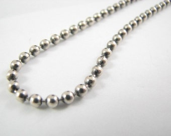 4mm Oxidized Ball Chain 24 inch Oxide Sterling Silver Ball Necklace, 4 mm Ball Chain