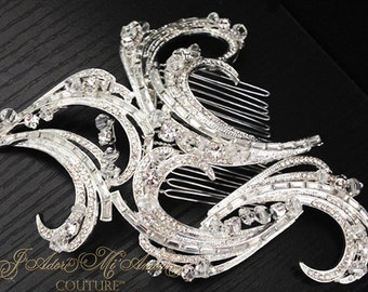 Crystal Bridal Comb, MELANCHOLY ROMANCE Luxury Wedding Comb, Couture Headpiece, Bridal Headpiece, Art Deco Bridal Comb, Hollywood Glamour