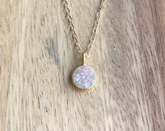 White Druzy Necklace, Rainbow Druzy Necklace, Druzy Necklace, Gold Druzy Necklace, White Druzy, Druzy Jewelry, Delicate Druzy Necklace