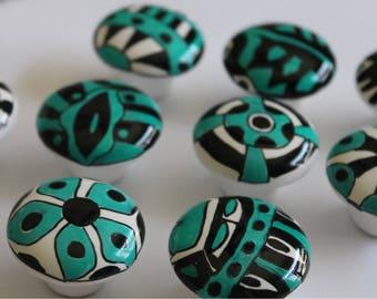 TEN unique whimsical hand paints knobs