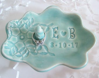 Bridal shower gift, engagement gift, cloud  ring holder gift, Bride to be gift, His and Hers monogram ring dish, Ceramic dish, Made to Order
