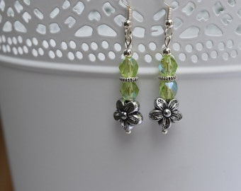 Lime green beaded earrings