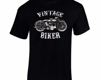 Men's Vintage Biker T Shirt Retro Motorbike Tee Motor Cycle T shirts