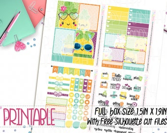 Printable, Mini Weekly Kit, Summer Stickers, Pineapples Weekly Kit, Mini Printable Weekly, Printable Planner Stickers