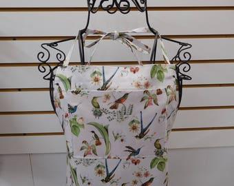 735 Hummingbirds, Women's Apron, Hummingbirds Apron, Birds Apron, Full size Apron with lined bib and side pockets, long waist ties, cotton