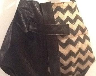 Black Vegan Leather and Black Chevron Burlap Hobo Shoulder Bag/Purse