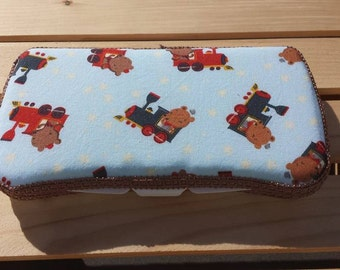 Baby Wipes Case, Travel Baby Wipes Case, Trains With Bears Print
